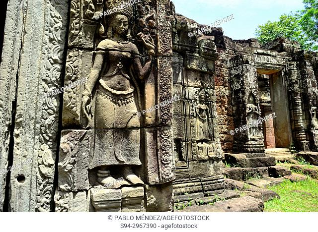 Relieves in Banteay Kdei, Angkor area, Siem Reap, Cambodia