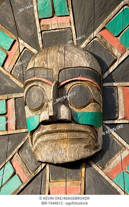 Macquinna Mask by Norman John 1988, Duncan, Vancouver Island, British Columbia, Canada