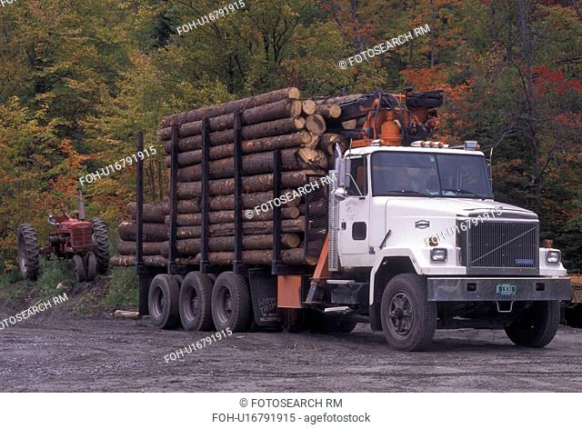 logging, truck, Vermont, A truck is piled high with cut logs in Walden Station in Caledonia County in the state of Vermont