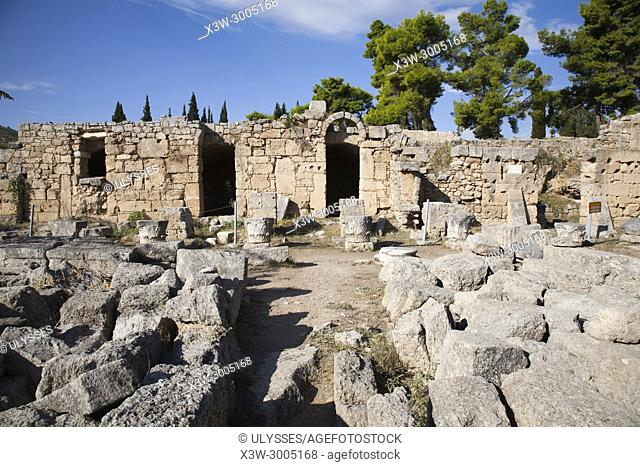 Europe, Greece, Peloponnese, ancient Corinth, archaeological site, west shops