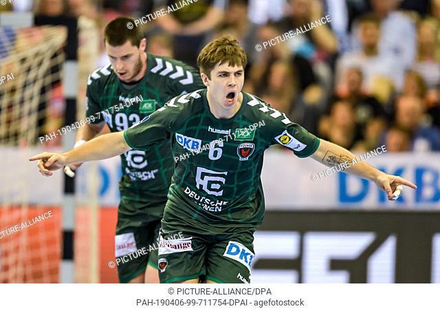 06 April 2019, Hamburg: Handball: DHB Cup, THW Kiel - Füchse Berlin, Main Round, Final Four, Semifinals. Berlin's Jacob Tandrup Holm cheers a hit