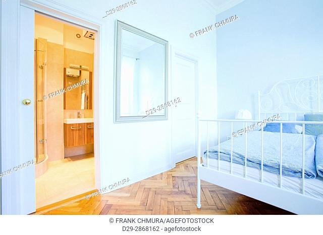 Apartment Interior- Bedroom iand Bathroom n Modern Flat