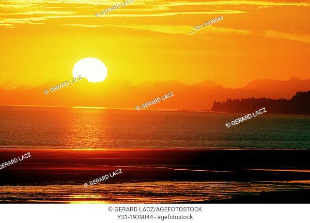 Sunset on Ocean in Alaska