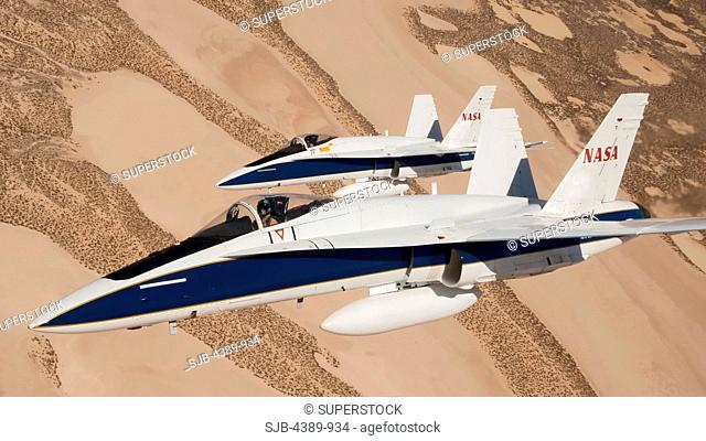 Two NASA F/A-18s