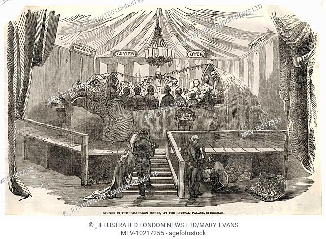 'Diners seated in a model of an Iguanodon at Crystal Palace, London. The Iguanodon was a creation of Mr. B. Waterhouse Hawkins who was constructing models of...