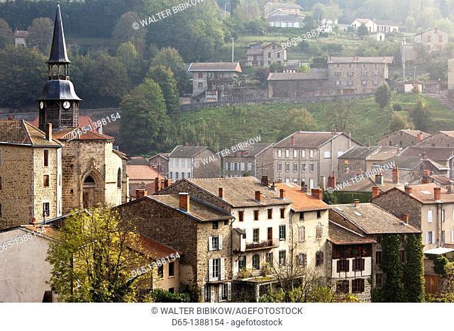 France, Puy-de-Dome Department, Auvergne Region, Olliergues, town view