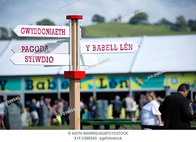 Welsh language signage at The National Eisteddfod of Wales , held near Meifod village in Powys, mid Wales, August 2015