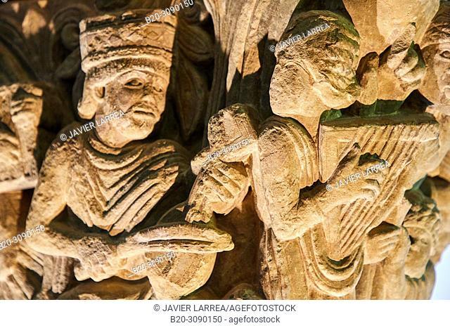 Capitel del Rey David y Los Músicos, 11th-12th c., Catedral de San Pedro de Jaca, Diocesan Museum, Museo Diocesano, Jaca, Huesca province, Aragón, Spain, Europe