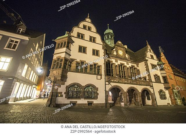 Town hall square by night in Freiburg im Breisgau, Germany