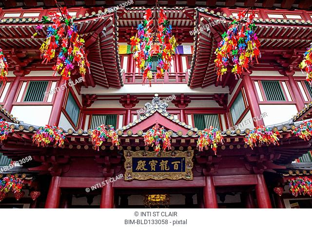 Ornate decorations on Buddha Tooth Relic temple, Singapore, Republic of Singapore
