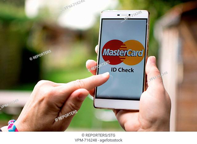Belgium, Brussels, Oct 24, Mastercard, Selfie, New payment method, Mastercard launches payment selfie in Belgium, The cardholder can validate a payment on his...