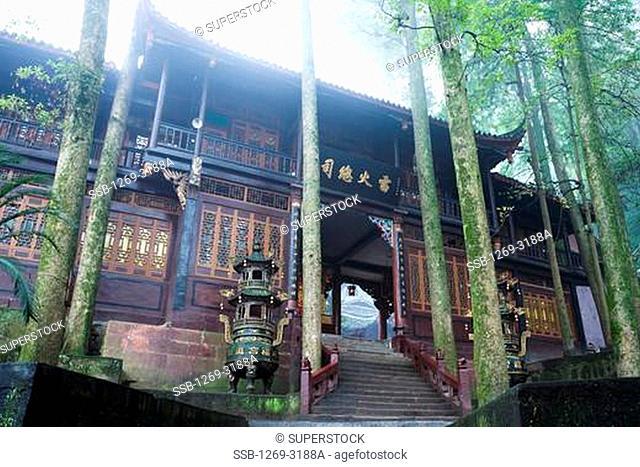 Low angle view of a palace, Jianfu Palace, Mount Qingcheng, Dujiangyan, Sichuan Province, China