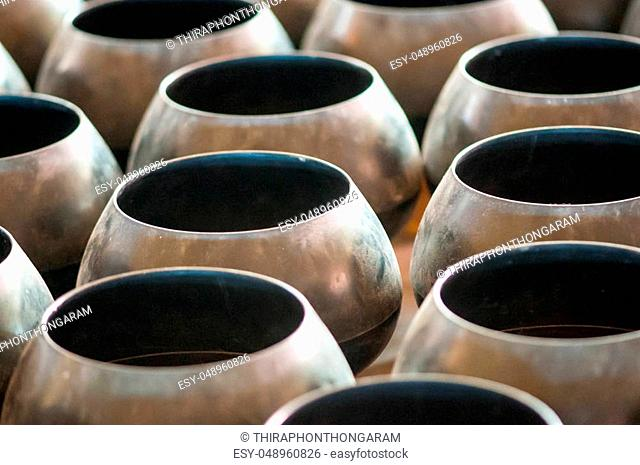 background of monk's alms bowls