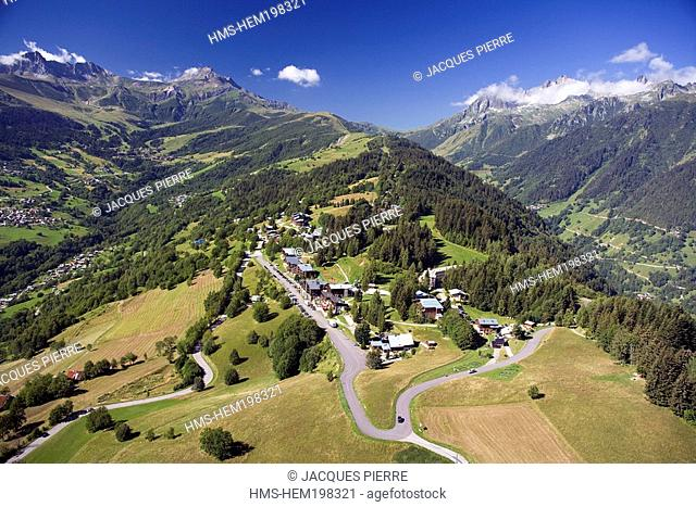 France, Savoie, Doucy Combelouviere, La Vanoise Massif, La Lauziere on the right in the background aerial view