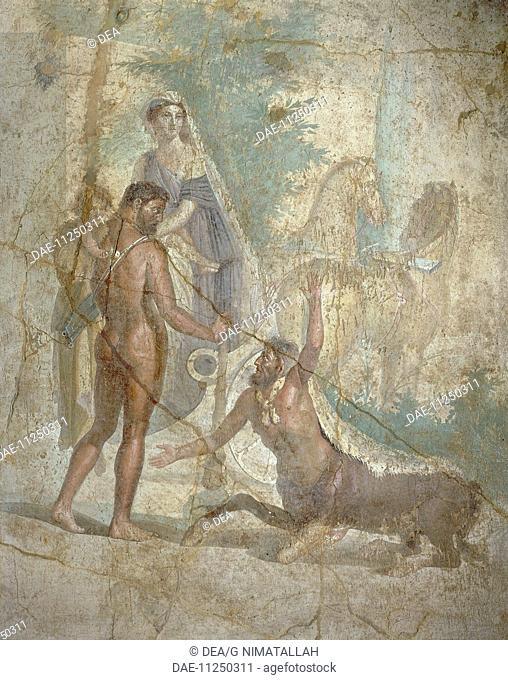 Roman civilization. Fresco depicting Hercules, Deianira and their son Hyllus crossing river Evenus. From Pompei.  Naples