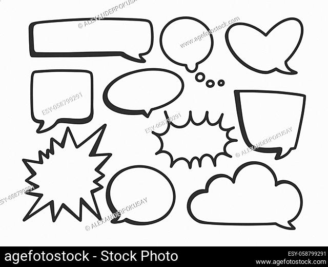 text bubble set sketch engraving vector illustration. T-shirt apparel print design. Scratch board imitation. Black and white hand drawn image