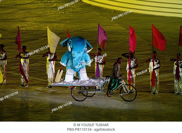 The world cup mascot moves in the stadium on a rikshaw during the inauguration of 2011 ICC Cricket World Cup at Bangabandhu National Stadium Dhaka