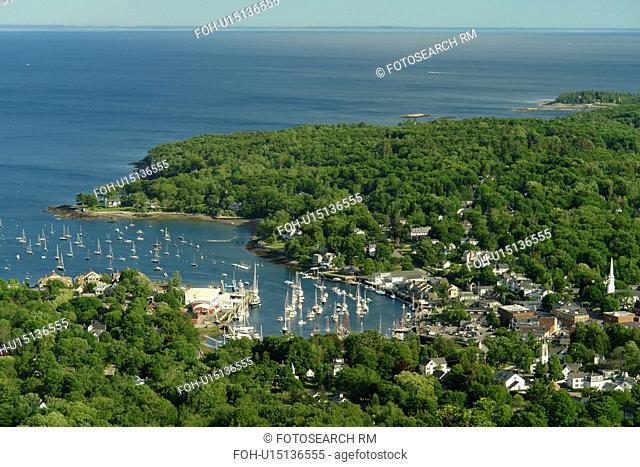 Camden, ME, Maine, Penobscot Bay, overlook, aerial