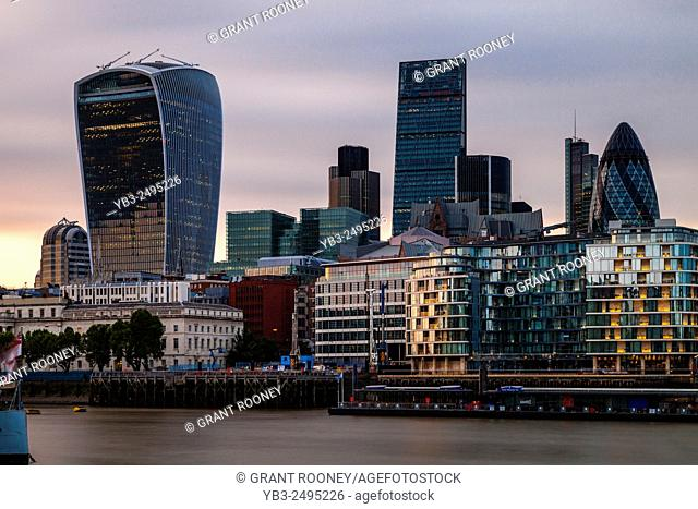 The River Thames and City of London Skyline, London, England