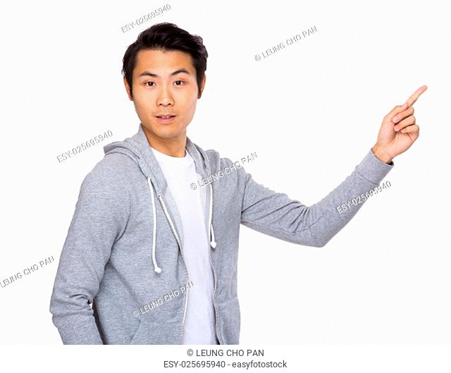 Asian man with finger point upwards