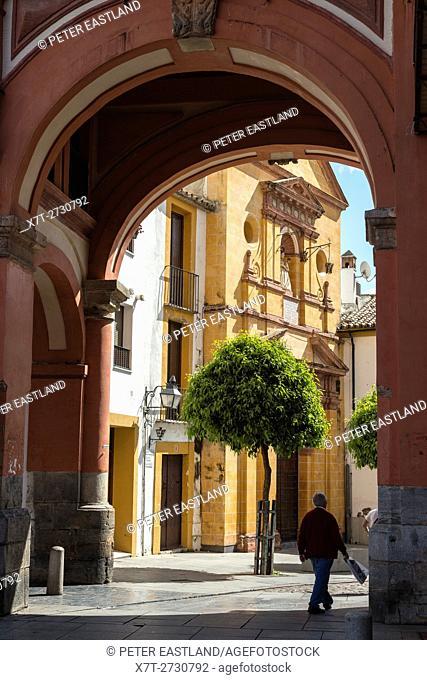 Exit from the Plaza Corredera toward the Plaza Soccoro and the Fraternity of Nuestra Senora del Socorro, Cordoba, Spain