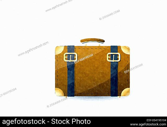 Watercolor suitcase over white background