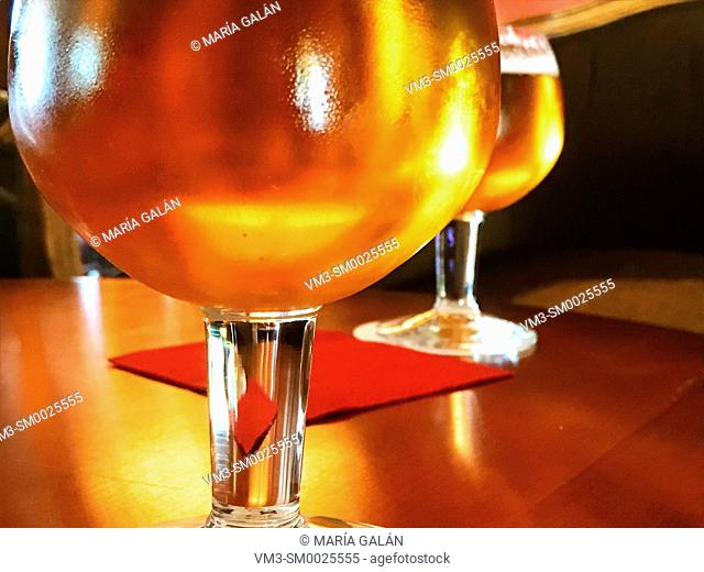 Two glasses of beer. Close view
