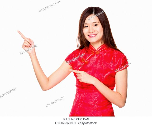 Chinese woman with two finger point up