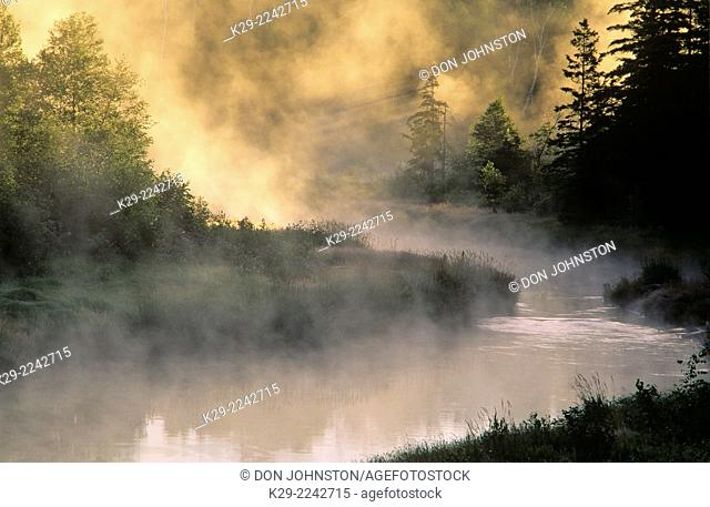 Morning mists over a river, Greater Sudbury, Ontario, Canada