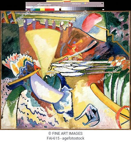 Improvisation. Kandinsky, Wassily Vasilyevich (1866-1944). Oil on canvas. Abstract Art. 1910. State Russian Museum, St. Petersburg. 97,5x106,5