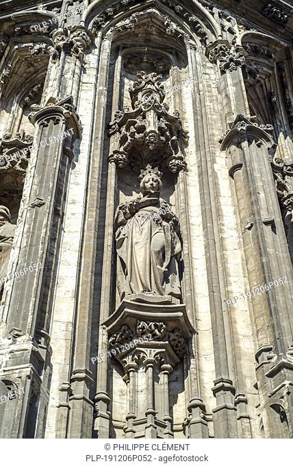 Isabella from Portugal statue on façade of the Ghent town hall / city hall's - De Keure Aldermen's House - in Late Gothic style, Flanders, Belgium