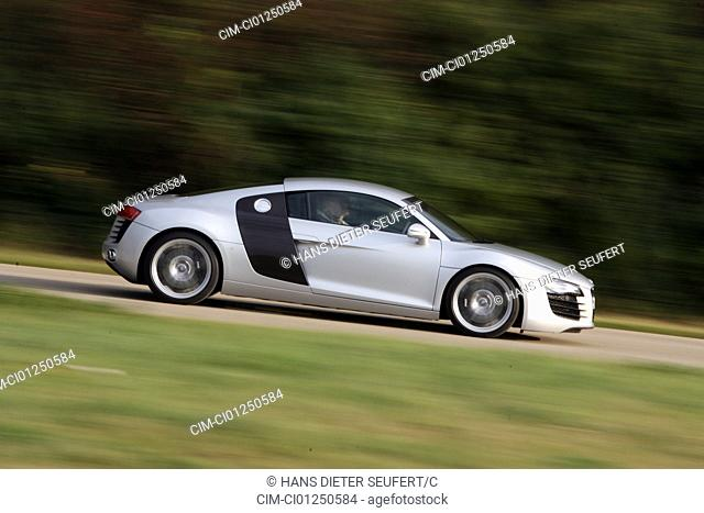 Audi R8 4.2 FSI, model year 2006-, silver, driving, side view, country road