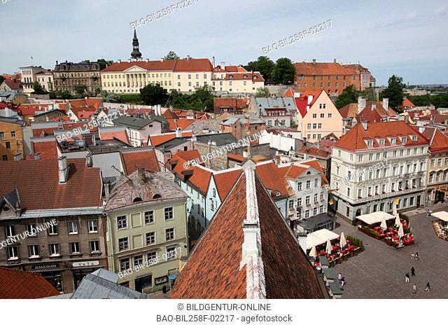 View of the city hall tower on the cathedral mountain and the city hall square in the Old Town in Tallinn, Estonia