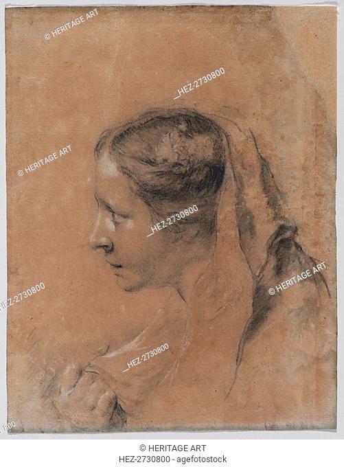 Head of a Woman in Profile with a Scarf. Creator: Giovanni Battista Piazzetta (Italian, 1682-1754)