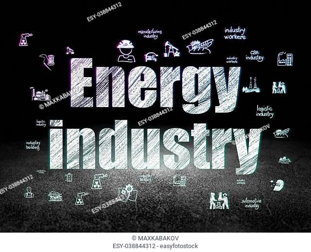 Industry concept: Glowing text Energy Industry, Hand Drawn Industry Icons in grunge dark room with Dirty Floor, black background, 3d render