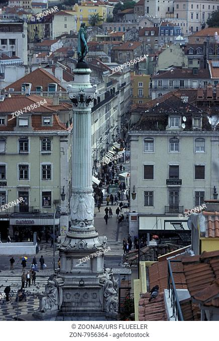 the rossio square in the city centre of Lisbon in Portugal in Europe