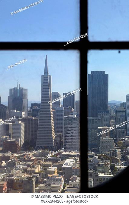 Financial district seen from Coit tower, San Francisco, California, USA