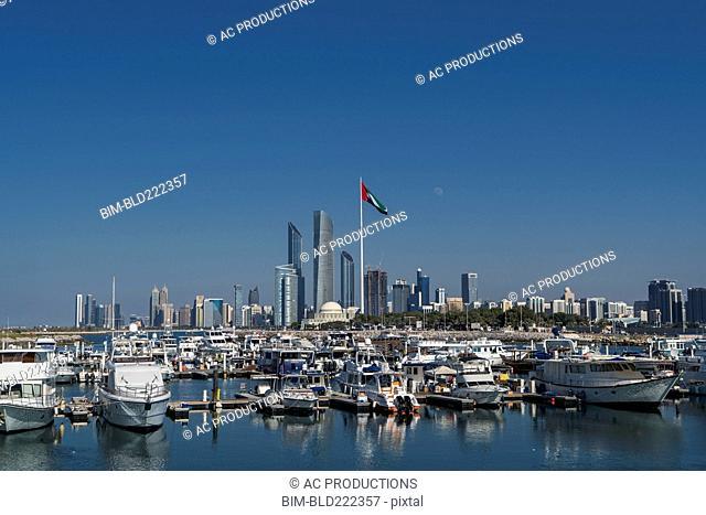 Boats at urban marina, Abu Dhabi, Abu Dhabi Emirate, United Arab Emirates