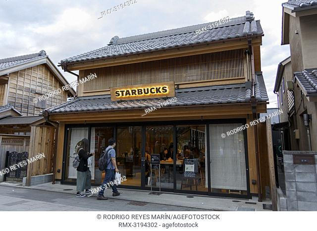 December 5, 2018, Saitama, Japan - A general view of a Starbucks coffee shop in Kawagoe. The branch opened last March is located near to the Toki no Kane bell...