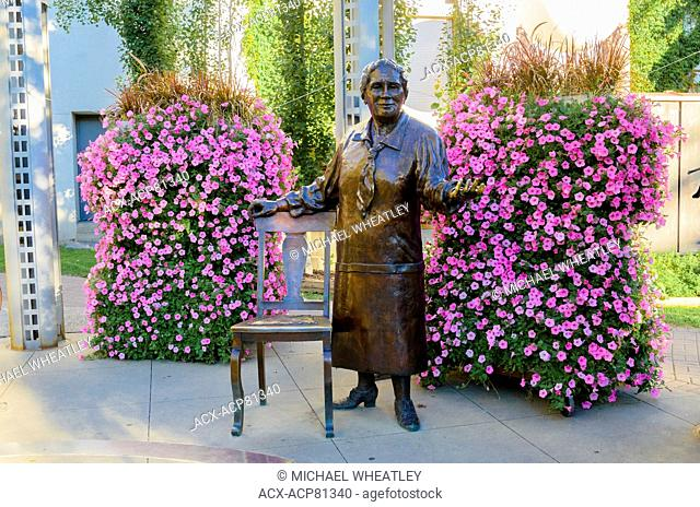 Emily Murphy, part of the The Famous Five statue aka the 'Women are Persons' monument sculpted by Barbara Paterson. Calgary, Alberta, Canada