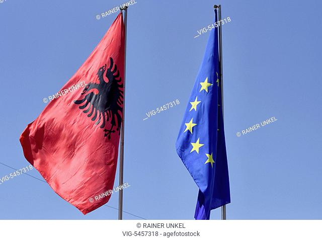 ALB , ALBANIA : The flags of Albania and the EU in Tirana , 22.05.2016 - Tirana, Tirana, Albania, 22/05/2016