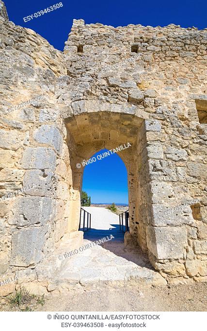ruin of door, rampart and footbridge in castle of Penaranda de Duero village, landmark and public monument from eleventh century, in Burgos, Castile and Leon