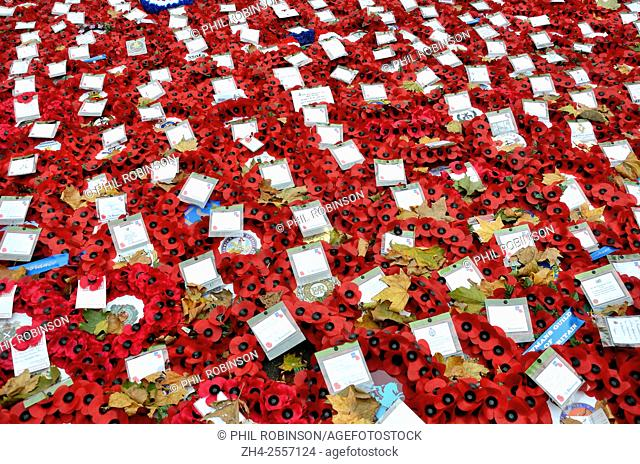 London, England, UK. Poppies and messages left at the Cenotaph in Whitehall after the Remembrance Sunday ceremony, 2015