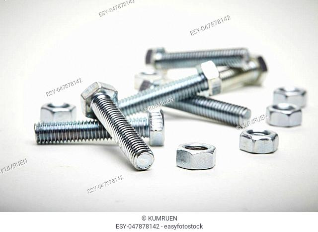 bolts and nuts with shallow depth of field
