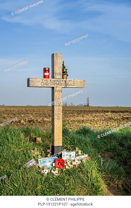 World War One Khaki Chums Cross monument to Christmas Truce football match played between English and German troops in the No Man's Land of Ploegsteert