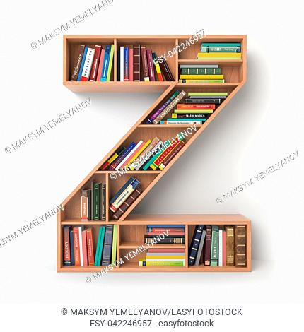 Letter Z. Alphabet in the form of shelves with books isolated on white. 3d illustration