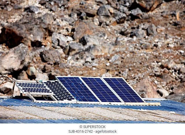 Solar photovoltaic panels at Phulangkarpo, in the Mount Everest Region of Nepal
