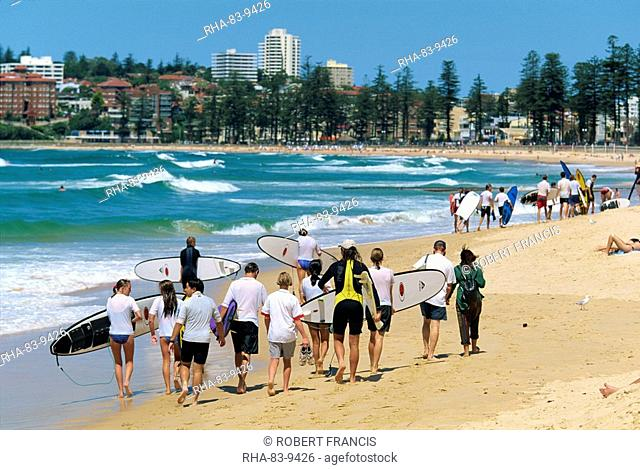 A surf class on Manly beach, the northern ocean suburb of Sydney, New South Wales, Australia, Pacific