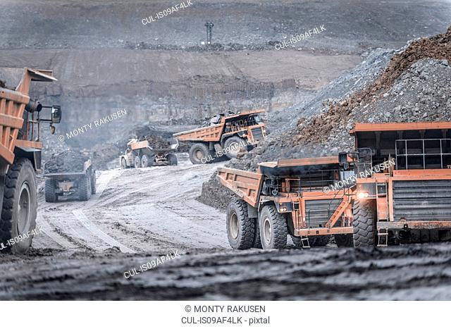 Dumper trucks in surface coal mine