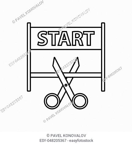 Scissors Cutting Tape Between Start Gate Icon. Thin line design. Vector illustration